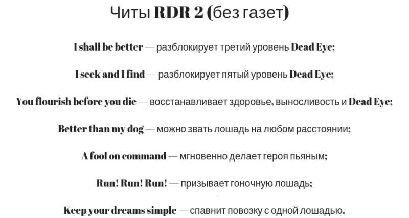 Читы на RDR 2 без газет