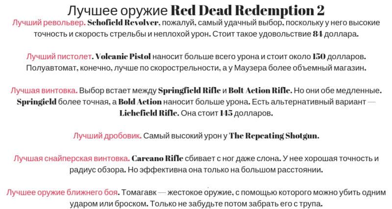 Лучшее оружие в игре Red Dead Redemption 2
