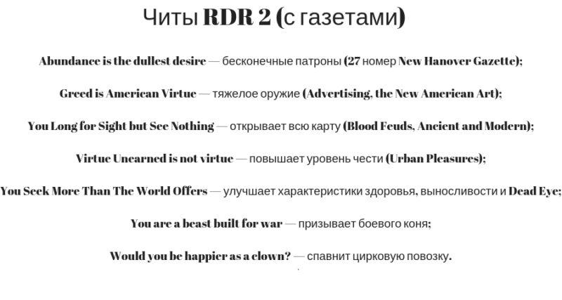 Читы на RDR 2 с газетами